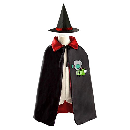 Invader GIR Halloween Costume Kids Wizard Witch Cape with Hat Cosplay Cloak for Boys and (Invader Zim And Gir Costumes)