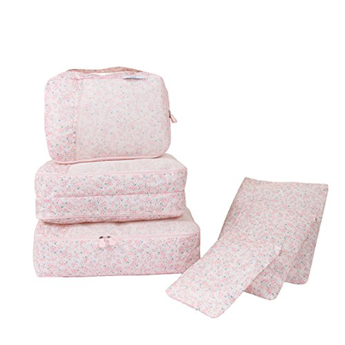 Travel Packing Organizers - Clothes Cubes Shoe Bags Laundry Pouches For Suitcase Luggage, Storage Organizer 6 Set Color Pink