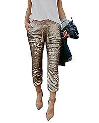 Wide Band Carpi Skinny Legging Pants In Sequins