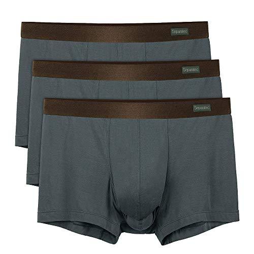 Separatec 3 Pack Men's Basic Bamboo Fiber Soft and Breathable Pouch Underwear Trunks(XL,Dark Gray)