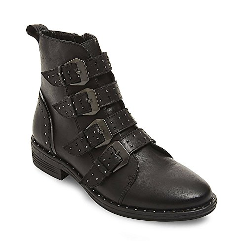Steve Madden Women's Pursue Motorcycle Boot, Black Leather, 6 M US