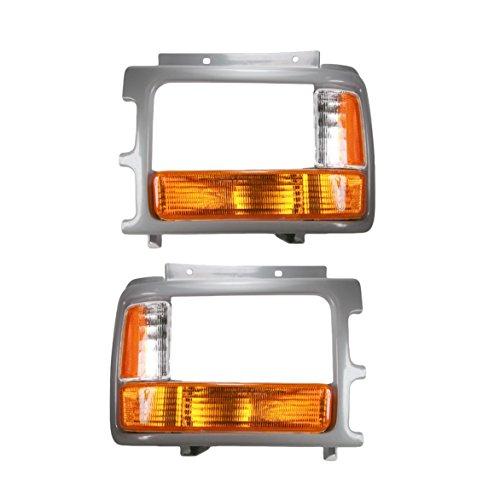 Corner Parking Light w/Bezel Trim Pair Set for 91-96 Dodge Dakota Pickup Truck
