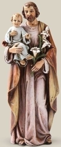Catholic Gift 6 Inch Stone Resin Saint St Joseph with Jesus Christ Child Home Chapel - Jesus Child Statue