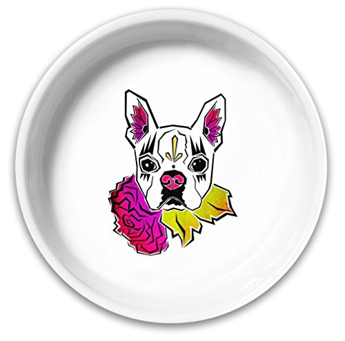 Sugar Skull Boston Terrier Dog Bowl|