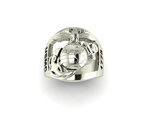 (Continuum Sterling Silver USMC Men's Ring with Open Back Eagle Globe and Anchor 1775 MR10)
