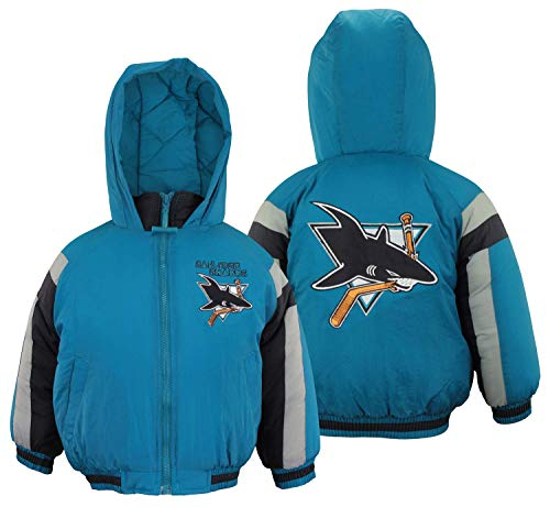 Mighty Mac San Jose Sharks NHL Little Boys Toddlers Full Zip Hooded Bomber Jacket Coat, Teal (3T)