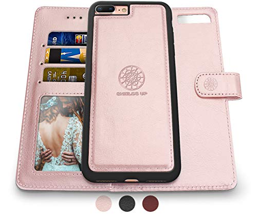 Shields Up iPhone 8 Plus Case/iPhone 7 Plus Case,[Detachable] Magnetic Wallet Case,Durable and Slim,Lightweight with Card/Cash Slots,[Vegan Leather] Cover for Apple iPhone 8 Plus/7 Plus -Rose Gold