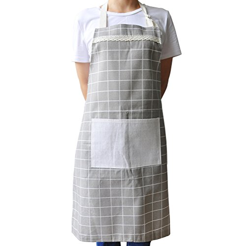 - Kitchen Apron for Women, Vintage Adjustable Design for Cooking Grill BBQ, Cotton Chef Bib with Pocket (Grey)