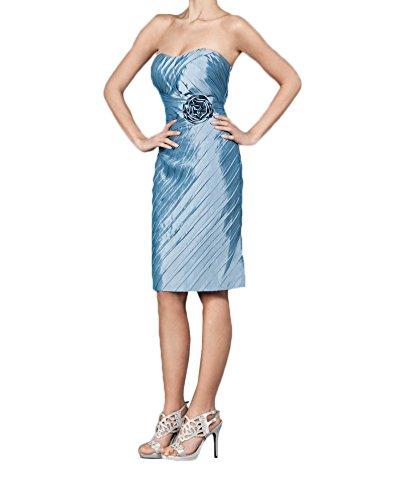 Charmant Damen Blau Taft Knielang Brautmutterkleider Partykleider Kurz Festlichkleider Damenmode Mit Bolero