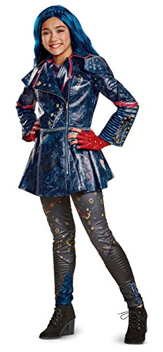 Disguise Evie Prestige Descendants 2 Costume, Blue, Large (10-12) (Disney Villain Costume)