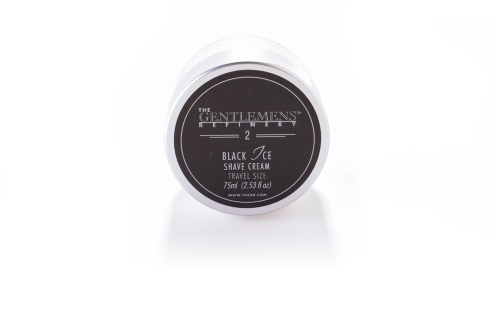 The Gentlemens Refinery 'Black Ice' Shave Cream TSA Travel Size, All-Natural & Organic, 75ml 689076671149