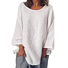 Summer Women's Casual Solid Linen T-Shirt Loose  Blouse Plus Size