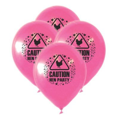 PINK CAUTION HEN PARTY NOVELTY FUN BALLOONS GIRLS NIGHT DECORATION ACCESSORY