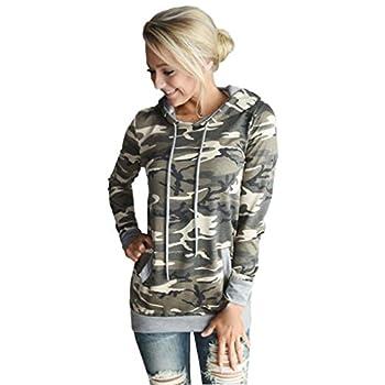 Women T-Shirt,Haoricu Womens Camouflage Printing Pocket Hoodie Sweatshirt Hooded Pullover Tops Blouse (L, Camouflage)