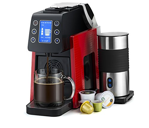 Gourmia GCM5000 One Touch Multi Capsule Coffee Machine, Compatible With Nespresso, K-Cup Pods & More, Built In Milk Frothier, Adjustable Temperature & Size, Digital Display - Red by Gourmia (Image #2)