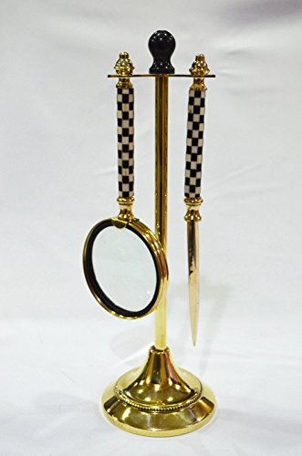Magnifying Glass Letter Opener (Set of 2 Decorative Brass Checker Magnifying Glass Bottle & Letter Opener Stand)