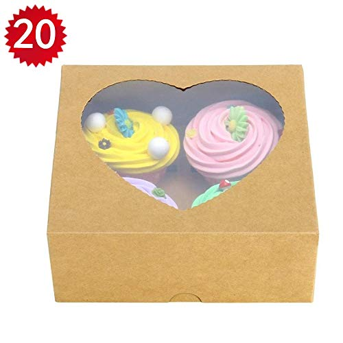 20PCS Brown Kraft 4 Cupcake Boxes With Window Heart-shaped Pastry Cake Bakery Boxes With Insert ()
