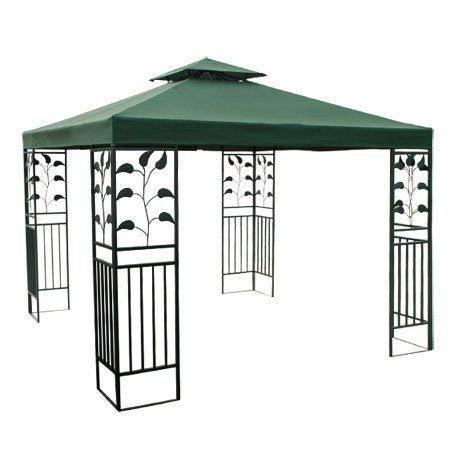 Heavy Duty Green Poly Fabric 10x10 Square Feet Garden Canopy Gazebo Replacement Vented Top 2-tier UV Protect Waterproof for Outdoor Patio Lawn Sun Shade Tent - Shade Two Tier