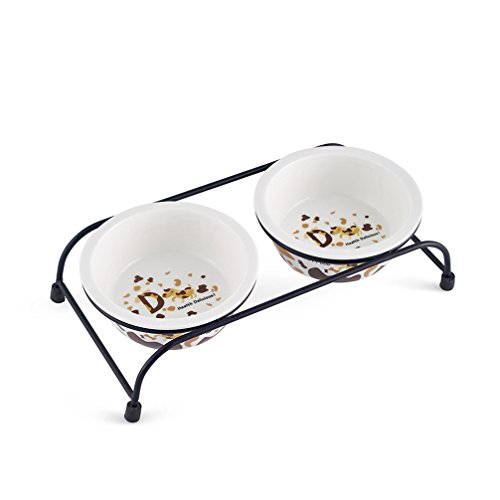 Be Good Pet Double Diner Feeder with Sturdy Non-Skid Elevated Iron Stand Wear-Resistant Dog Water Food Ceramic Double Bowls Set Perfect for Cat Dogs Puppies S by Be Good
