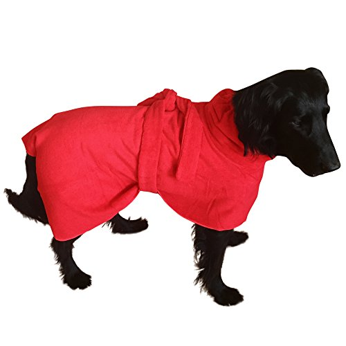 THE SNUGGLY DOG Easy Wear Dog Towel. Luxuriously Soft, Fast Drying 400gsm Microfiber. Soft Belt Included for a Warm Plush Dog Robe. X-Large Red