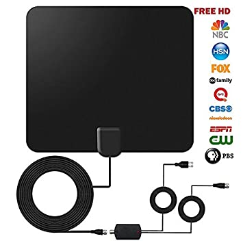 Kimitech TV Antenna,60-100 Miles Reception Range Window TV Aerial with Detachable Amplifier