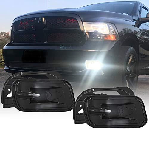 BICYACO LED Fog Light for Dodge Ram 1500 2009-2012 Dodge Ram 2500/3500 2010-2018 Pickup Truck w/Bracket Replacement -1 Pair Black