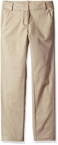 (Nautica Girls' Big School Uniform Skinny Stretch Twill Pant, Su Khaki, 12)