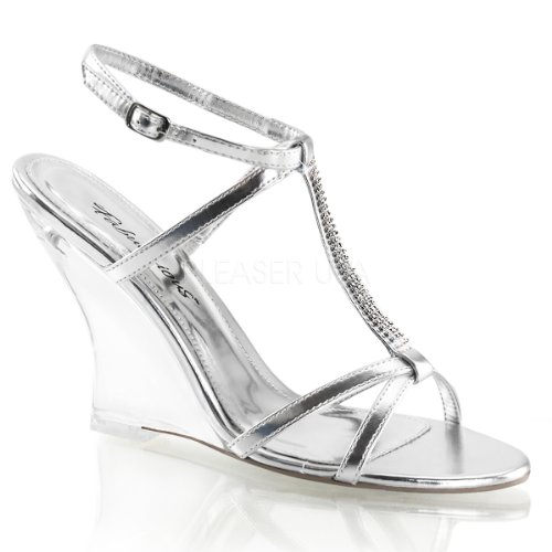 Lovely Fabulicious 428 Clear Casual Sandals Metallic Pu Slingback Women's Silver r5Z4qr