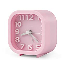 "Alarm Clock, Chelvee 2"" Quartz Analog Travel Alarm Clock with Night Light, Ultra Small, Silent with No Ticking (Pink)"