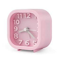 "Alarm Clock, Chelvee 2"" Quartz Analog Travel Alarm Clock with Night Light, Ultra Small, Silent with No Ticking (Pink)"