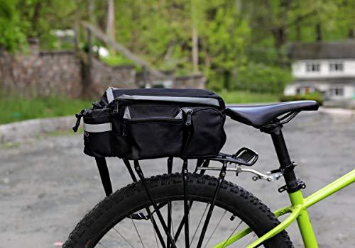 Bike Pannier Bag - Durable & Waterproof Nylon with Reflector Handbag   Shoulder Strap Rack Rear Trunk Tote Bag   Strong Velcro, Zipper Pockets & Bottle Case