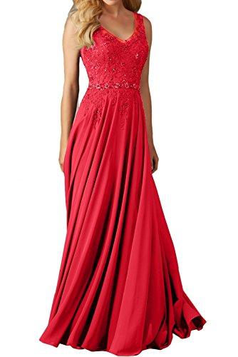Ballkleid V Lang Einfach Ausschnitt Abendkleider Linie Ivydressing Damen schleppe A Spitze Festkleid Rot Promkleider wqvxYqR5