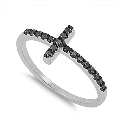 New Trend Celebrity Inspired Sideways Cross Ring Round Black CZ 925 Sterling Silver