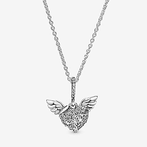 45 Cm Necklace - PANDORA Pave Heart & Angel Wings 925 Sterling Silver Necklace, Size: 45cm, 17.7 inches - 398505C01-45