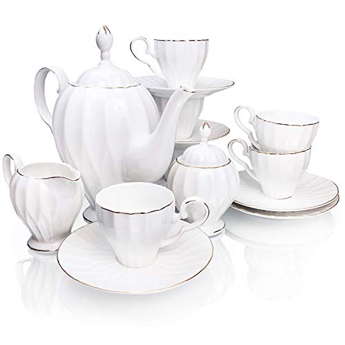 - BTäT- Royal Tea Set, 6 Tea cups (6oz), Tea Pot (38oz), Creamer and Sugar Set, Gift box, China Tea Set, Tea Service, Tea Cups and Saucer Set, Tea Set for Adults, Tea Cups Set of 6, Porcelain Tea Set