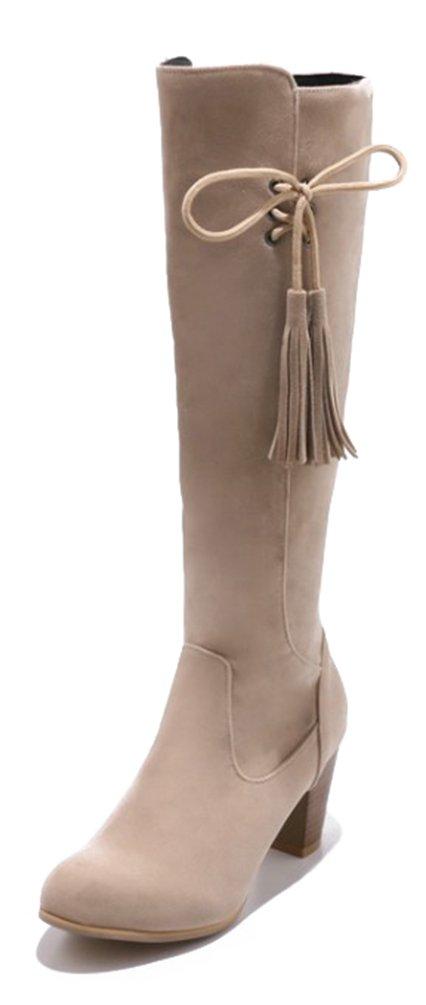 SHOWHOW Damen Schleife High Boots Schaftstiefel Mit Absatz Chelsea Boots Beige 35 EU sm8YcM6kZg