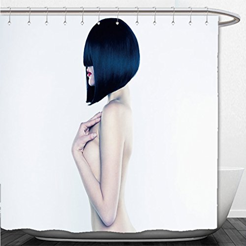 Interestlee Shower Curtain elegant nude woman with short stylish hairstyle 98536631 (Grease Hairstyles)