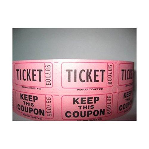 500 Pink 50/50 Double Stub Raffle Tickets