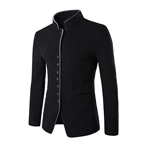 Mandarin Collar Blazer - SITENG Men's Casual Business Blazer Solid Slim Fit Mandarin Collar Coat Single Breasted Fall Winter Woolen Outwear (CN-L, Black)