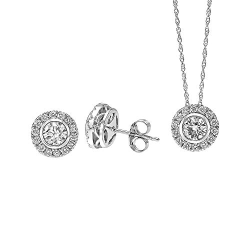 (Brilliant Expressions 14K White Gold 1 Ct Colorless Lab Created Conflict Free Diamond Round Cluster Halo Stud Earrings and Adjustable Pendant Necklace Set (E-F Color, VS2-SI1 Clarity), 16-18 inch)