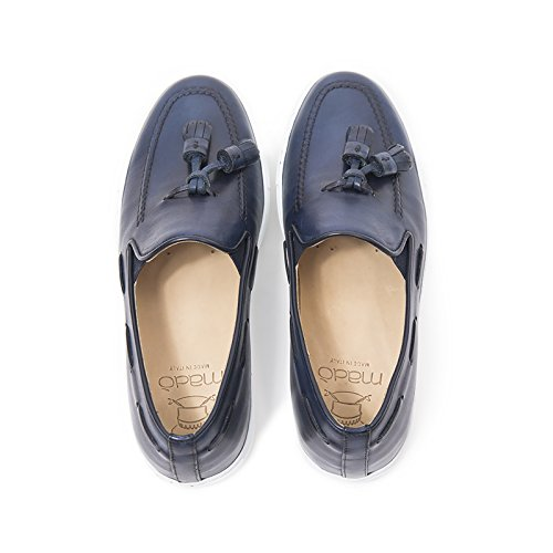 Italy in Uomo Made di Scarpe Uomo Slip On in Blu Sportive Pelle Mocassino Colore Sneakers Blu Sneakers Leather qRaTUx