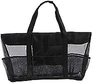 Mesh Large Black Beach Bag Large Beach Tote Bag 70 x 18 x 45 cm Folding Shoulder Bag Women Summer Bag for Fami