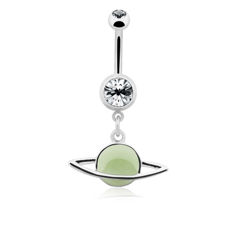 - Sold Individually 14G 1.6mm Glow in the Dark Saturn Ring Planet Belly Button Ring