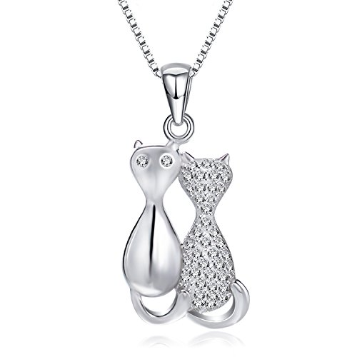 women necklace pendant lady girls bestfriend_ jewellery necklace silver 925 sterling_ cat necklace pendant cubic zirconia crystal_ Christmas necklace Thanksgiving day Black Friday Boxing day_ pendant cat jewellery for women