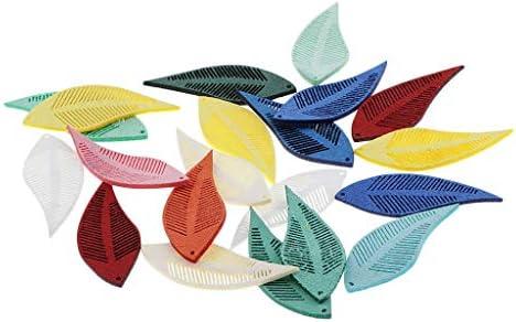 sharprepublic レザークラフトキット リーフ 葉の形 タグ 人工皮 趣味 加工 DIY ハンドメイド デコ素材 約20個