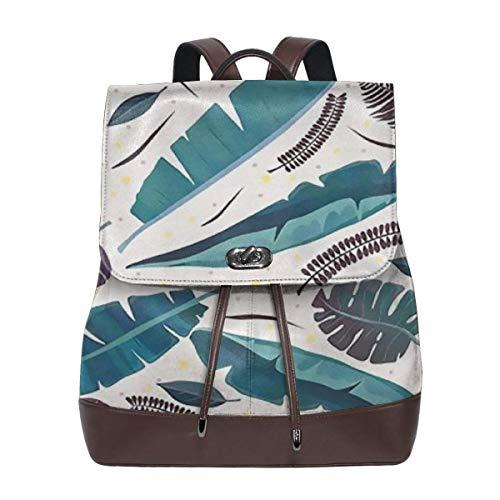 Cilantro Vintage - Women's Leather Backpack Vintage Colored Tropical Cilantro School Bag Elegant Casual Daypack Travel Shoulder Bag For Ladies