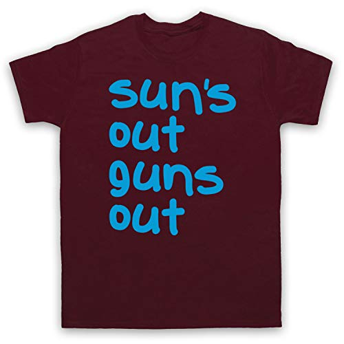 My Icon Men's Sun's Out Guns Out Gym Slogan T-Shirt, Maroon, Small