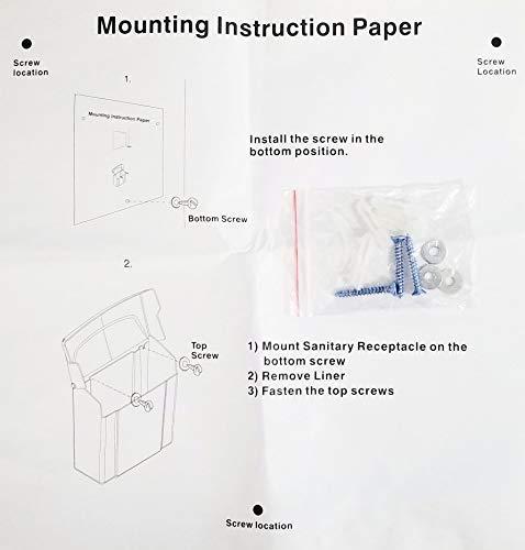 Janico 1030 Sanitary Napkin Receptacle Feminine Hygiene, Wall Mount, White by Janico (Image #7)