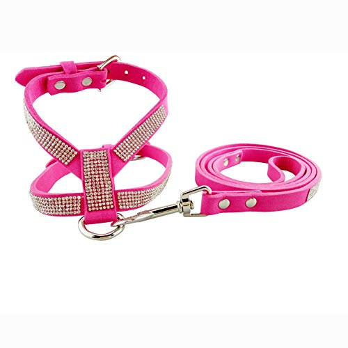 Teacup Chihuahua Puppies - DOGGYZSTYLE Dog Harness Bling Rhinestone Korea Suede Pet Puppy Small Dogs Vest Collar Leash Set For Chihuahua Teacup Cat (Rose,XS)