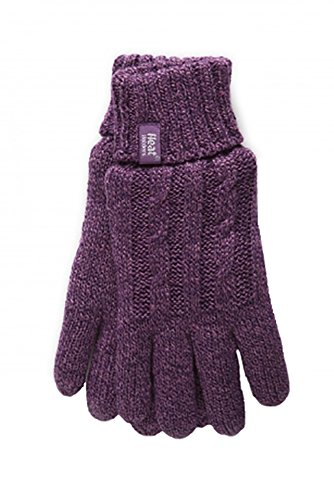 Heat Holders - Women's Thermal Heat Weaver Cable Knit 2.3 Tog Gloves - S/m (Small/Medium, Purple) (Best Heated Gloves For Raynaud's Syndrome)